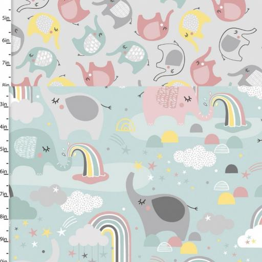 Small and Mighty - Elephant and rainbow print brushed cotton flannel fabric- by 3 Wishes