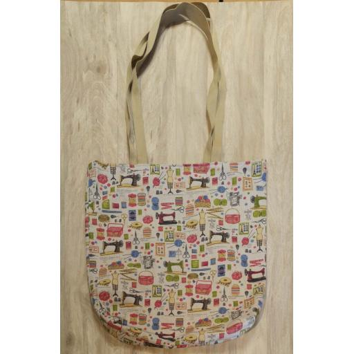 Sewing and knitting Shopping bag-long handles-large