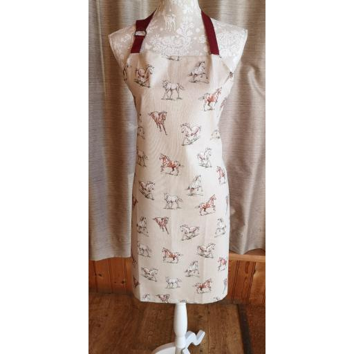 Horses Adult apron - hand made full length apron with adjustable neck strap