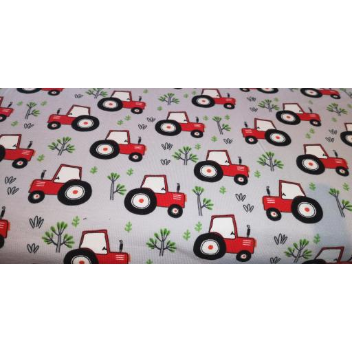 Jersey- red tractors (silver) cotton elastane jersey