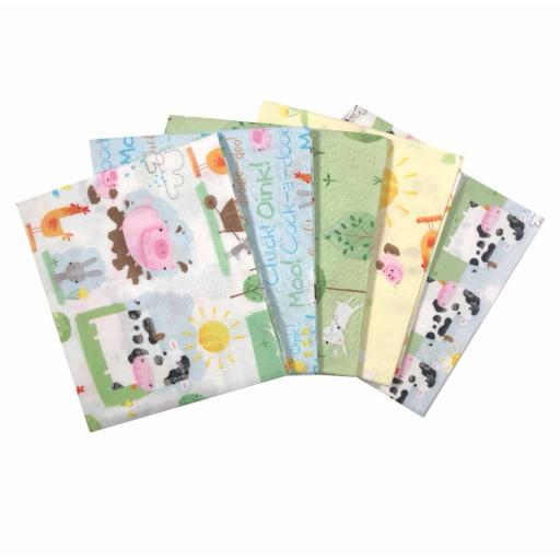 Playful Farm animals 5pcs fat quarters