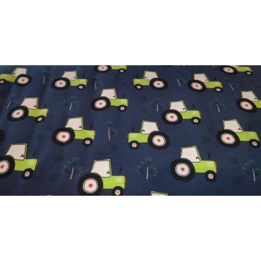Jersey- green tractors (navy) cotton elastane jersey