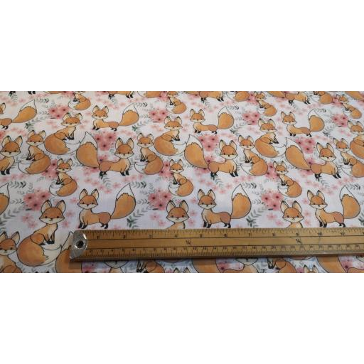 Cute baby foxes 148cm wide cotton poplin
