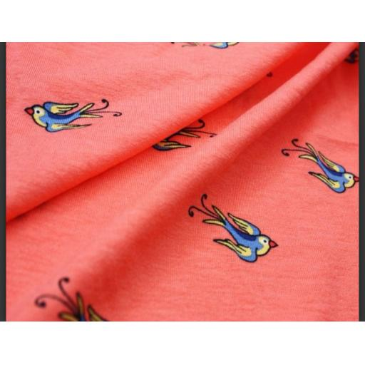Coral Swallows viscose Jersey