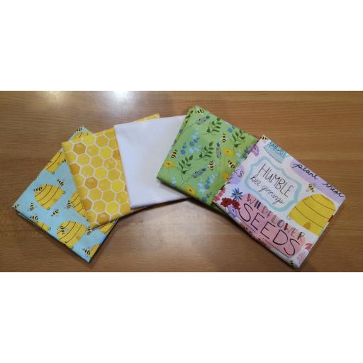 FAT QUARTERS 5 SET Feed the bees - by 3 Wishes