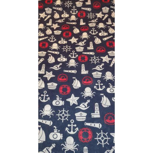 Red white and blue nautical Polycotton