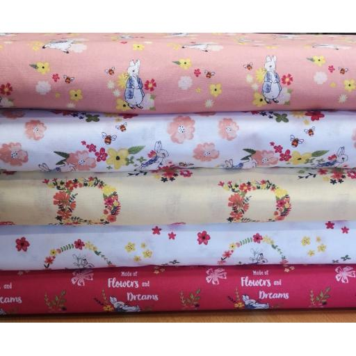 Peter Rabbit flowers and dreams craft cotton fabric- 5 designs