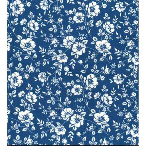 Copen blue medium floral cotton poplin