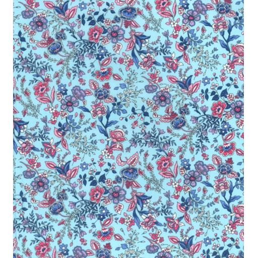 Blue Paisley floral print cotton poplin