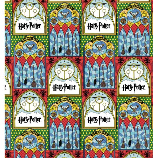 Harry Potter cotton fabric - Stained glass- Quidditch and broomsticks