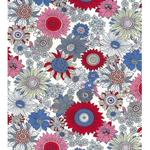 Red sunflower print cotton poplin fabric