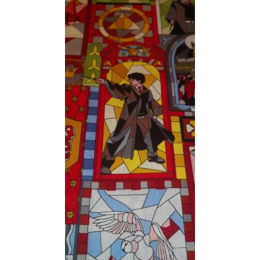 Harry Potter cotton fabric - Stained glass windows Harry and Friends