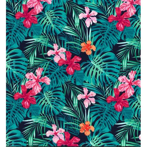 Tropical Palm leaves cotton poplin