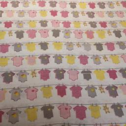 Pink baby themed organic cotton pink hearts on white.jpg