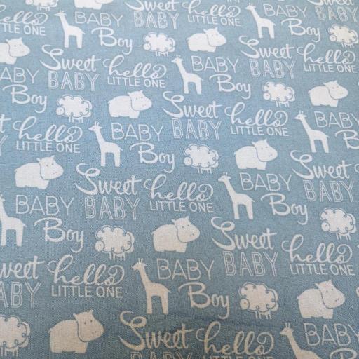 Baby boy themed organic cotton  white writing, giraffes, animals on blue.jpg