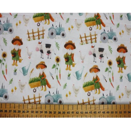 Safari foxes by Little Johnny 11cm wide cotton poplin