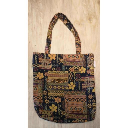 Navy floral tapestry Shopping bag-long handles-MEDIUM