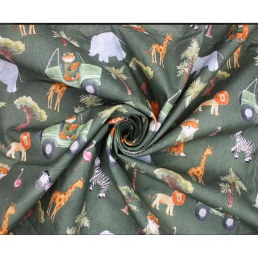 Safari foxes by Little Johnny 11cm wide cotton poplin