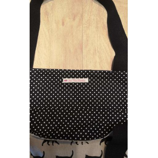 Black cat Shopping bag-long handles-medium