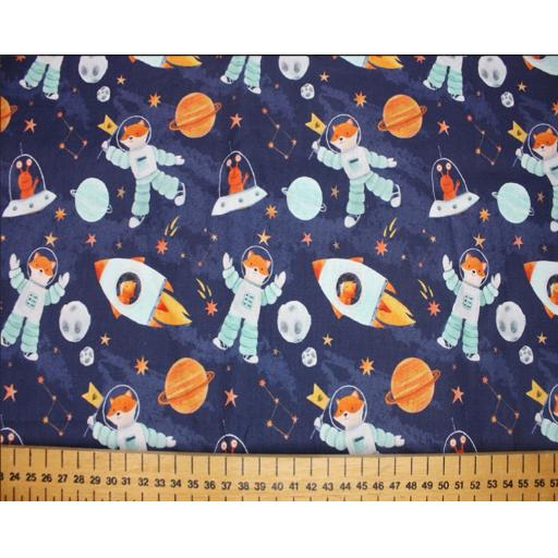 Space foxes by Little Johnny 11cm wide cotton poplin