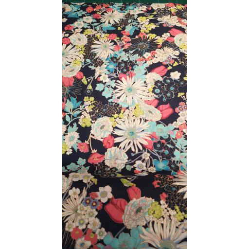 Navy and pink floral Pima cotton lawn