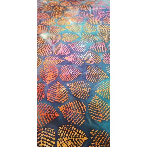 Batik- blue with orange leaves