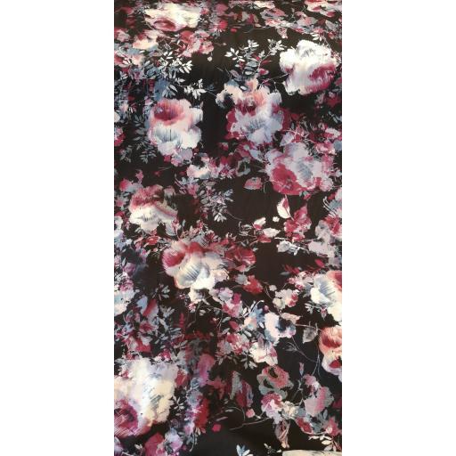 Viscose-black burgundy floral print
