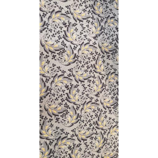 Viscose-grey blue leaf print