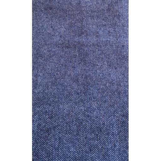 Italian Wool mix herringbone - Blue tweed
