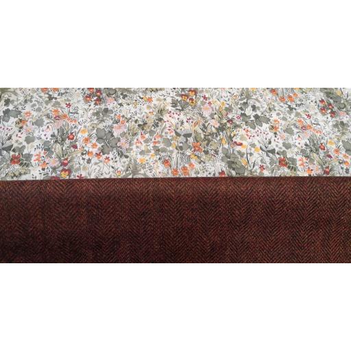 100% UK wool herringbone - Rust Terracotta