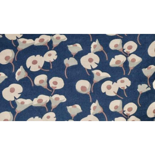 Navy and beige floral Pima cotton lawn