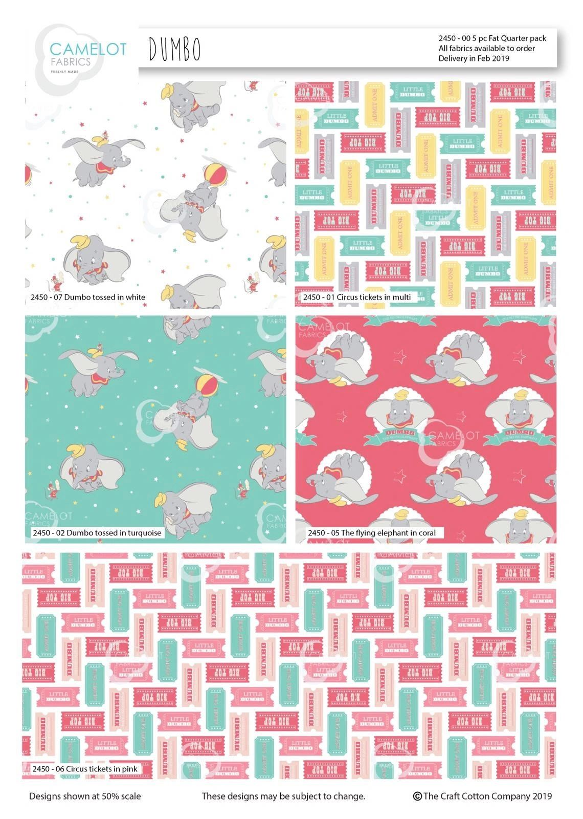 Disney's Dubo 5 piece fat quarter set £9.50