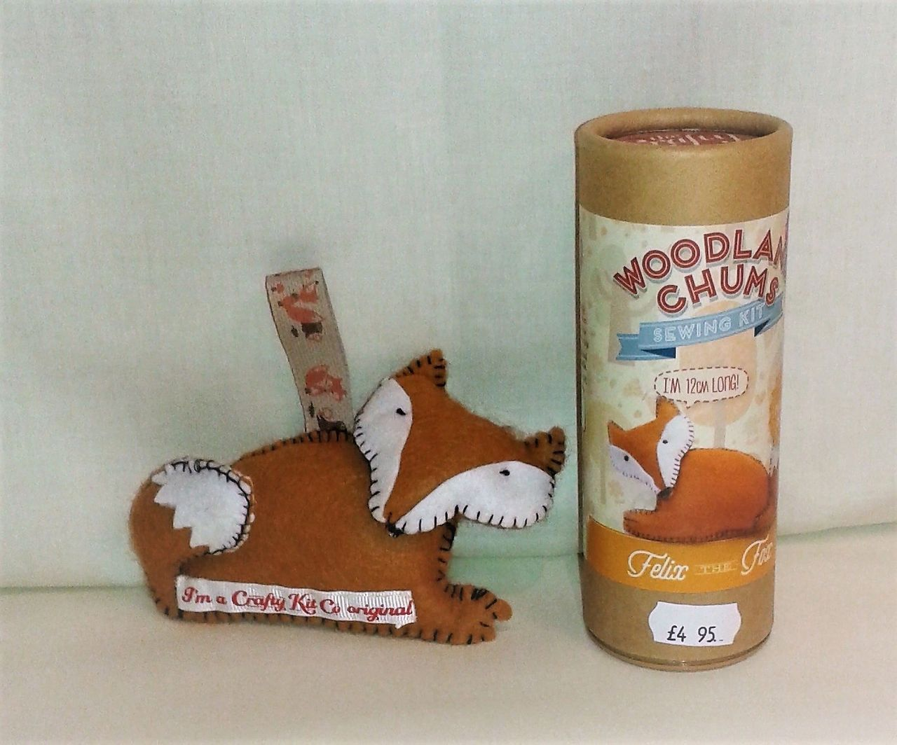 Fox felt sewing kit with everything you need to make a toy in the tube.