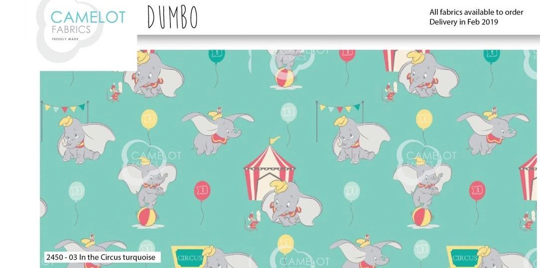 Disney's Dumbo turquoise plain cotton £9.50/m